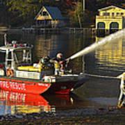 Fire Boat Poster by Susan Leggett