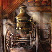 Fireman - Steam Powered Water Pump Poster by Mike Savad