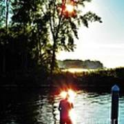 Fisherman In Sunfire Poster by Judy Via-Wolff