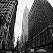fisheye shot View of the empire state building from West 34th Street and Broadway new york usa Poster by Joe Fox
