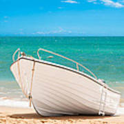 Fishing Boat On The Beach Algarve Portugal Poster by Amanda And Christopher Elwell