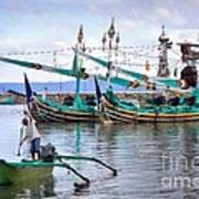 Fishing Boats In Bali Poster by Louise Heusinkveld