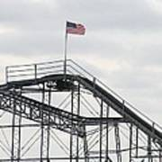 Flag Mounted On Seaside Heights Roller Coaster Poster by Melinda Saminski