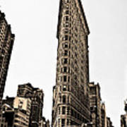 Flat Iron Building In Sepia Poster by Bill Cannon