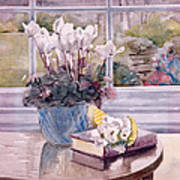 Flowers And Book On Table Poster by Julia Rowntree