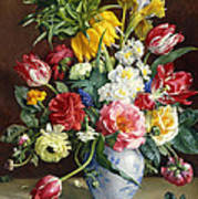 Flowers In A Blue And White Vase Poster by R Klausner