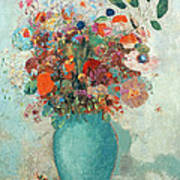 Flowers In A Turquoise Vase Poster by Odilon Redon