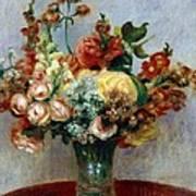 Flowers In A Vase Poster by Pierre-Auguste Renoir