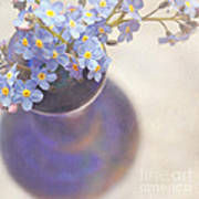 Forget Me Nots In Blue Vase Poster by Lyn Randle
