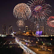 Fort Worth Skyline At Night Fireworks Color Evening Ft. Worth Texas Poster by Jon Holiday