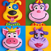 Four Animal Faces Poster by Amy Vangsgard