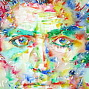 Franz Kafka Watercolor Portrait Poster by Fabrizio Cassetta