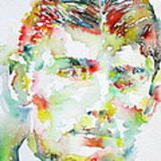 Franz Kafka Watercolor Portrait.2 Poster by Fabrizio Cassetta