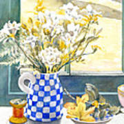 Freesias And Chequered Jug Poster by Julia Rowntree
