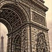 French - Arc De Triomphe And Eiffel Tower IIi Poster by Lee Dos Santos