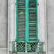 French Quarter Window In Green Poster by Brenda Bryant