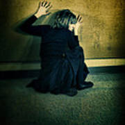 Frightened Woman Poster by Jill Battaglia