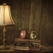 Fruit And Books Poster by Erik Brede