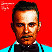 Gangman Style - John Dillinger 13225 - Red - Color Sketch Style - With Text Poster by Wingsdomain Art and Photography