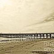 Gaviota Pier In Morning Sepia Tone Poster by Artist and Photographer Laura Wrede