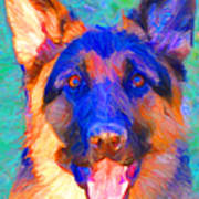 German Shepard - Painterly Poster by Wingsdomain Art and Photography