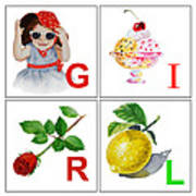 Girl Art Alphabet For Kids Room Poster by Irina Sztukowski