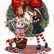 Girls Decorating For Christmas Poster by Isabella Kung