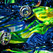 Glass Macro - Seahawks Blue And Green -13e4 Poster by David Patterson
