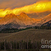 Glowing Sawtooth Mountains Poster by Robert Bales