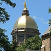 Golden Dome Notre Dame Poster by Connie Dye
