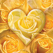 Golden Heart Of Roses Poster by Alixandra Mullins