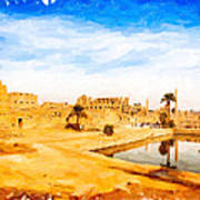 Golden Ruins Of Karnak Poster by Mark E Tisdale