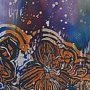 Graceful Wild Orchids In Blue/orange Poster by Beena Samuel