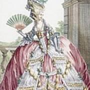 Grand Robe A La Francais, Engraved Poster by Claude Louis Desrais