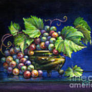 Grapes In A Footed Bowl Poster by Jane Bucci
