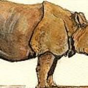 Greated One Horned Rhinoceros Poster by Juan  Bosco