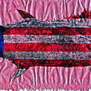 Gyotaku - American Spanish Mackerel - Flag Poster by Jeffrey Canha