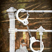 Handcuffs On Bed Poster by Amanda Elwell