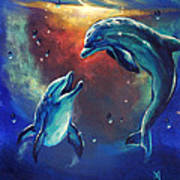 Happy Dolphins Poster by Marco Antonio Aguilar