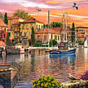 Harbour Sunset Poster by Dominic Davison
