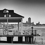 Hdr Beach Boardwalk Photos Pictures Art Sea Ocean Photograph Scenic Landscape Black White Poster by Pictures HDR