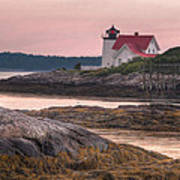 Hendricks Head Light At Sunset Poster by At Lands End Photography