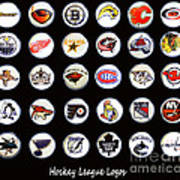 Hockey League Logos Bottle Caps Poster by Barbara Griffin