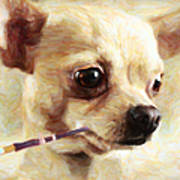 Hollywood Fifi Chika Chihuahua - Painterly Poster by Wingsdomain Art and Photography