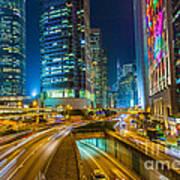 Hong Kong Highway At Night Poster by Fototrav Print