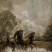 Horse Painting Escaping The Storm Poster by Regina Femrite