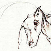 Horse Sketch Poster by Angel  Tarantella