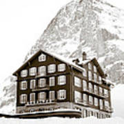 Hotel Des Alpes And Eiger North Face Poster by Frank Tschakert