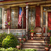 House - Porch - Belvidere Nj - A Classic American Home  Poster by Mike Savad