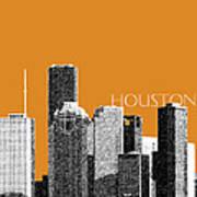 Houston Skyline - Dark Orange Poster by DB Artist
